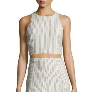 [NWT THEORY] Stripe Linen Nikayla Crop Top Sz L